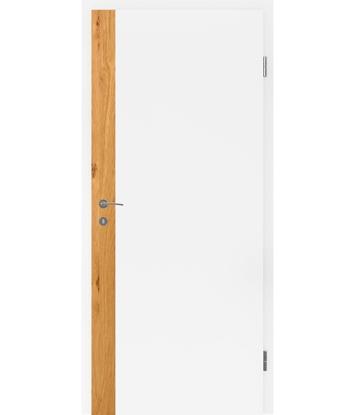 Bíle lakované interiérové dveře s dýhovanými intarziemi BELLAline - F5R33L bíle lakováno, intarzie dub sukatý s drážkou