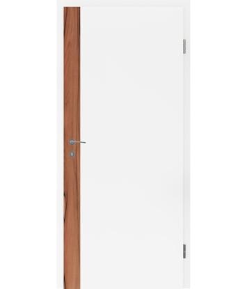 Bíle lakované interiérové dveře s dýhovanými intarziemi BELLAline - F5R33L bíle lakováno, intarzie intarzie indické jablko s drážkou