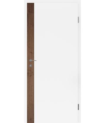 Bíle lakované interiérové dveře s dýhovanými intarziemi BELLAline - F5R33L bíle lakováno, intarzie ořech s drážkou