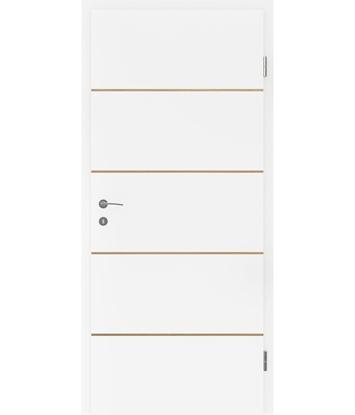 Picture of Bíle lakované interiérové dveře s dýhovanými intarziemi BELLAline - FN1 bíle lakováno, intarzie dub