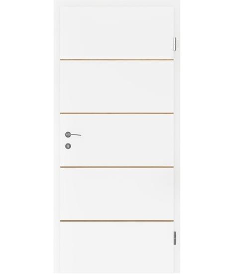 Bíle lakované interiérové dveře s dýhovanými intarziemi BELLAline - FN1 bíle lakováno, intarzie dub