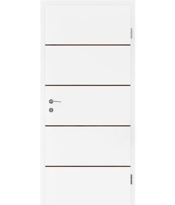 Picture of Bíle lakované interiérové dveře s dýhovanými intarziemi BELLAline - FN1 bíle lakováno, intarzie ořech