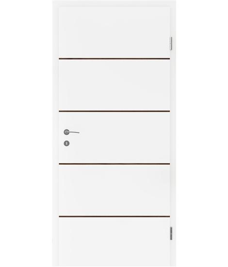 Bíle lakované interiérové dveře s dýhovanými intarziemi BELLAline - FN1 bíle lakováno, intarzie ořech