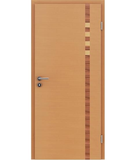 Dýhované interiérové dveře s intarziemi HIGHline - I17 buk, intarzie indické jablko a javor