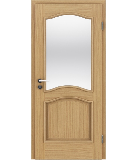 Dýhované interiérové dveře s okrasnými lištami a sklo - NAPOLEON STILline - SNC SN3 dub evropský