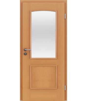 Picture of Dýhované interiérové dveře s okrasnými lištami a sklo STILline - SOA SO3 buk