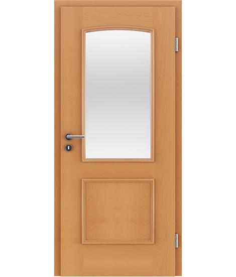 Dýhované interiérové dveře s okrasnými lištami a sklo STILline - SOA SO3 buk