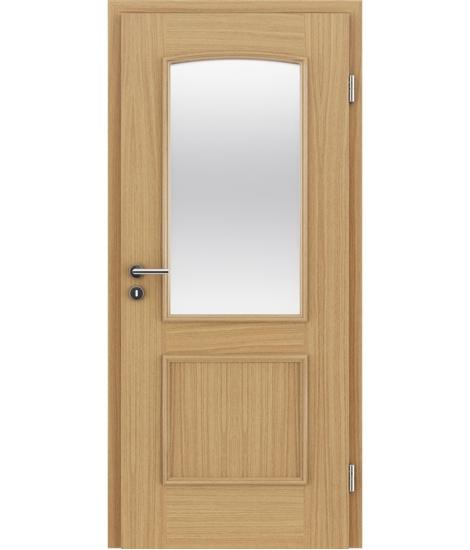 Dýhované interiérové dveře s okrasnými lištami a sklo STILline - SOA SO3 dub evropský