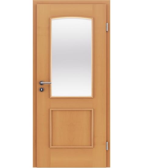 Dýhované interiérové dveře s okrasnými lištami a sklo STILline - SOAD SO3 buk