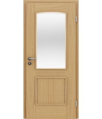 Dýhované interiérové dveře s okrasnými lištami a sklo STILline - SOAD SO3 dub evropský