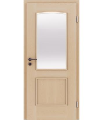Dýhované interiérové dveře s okrasnými lištami a sklo STILline - SOAD SO3 javor