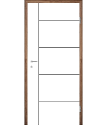 Bíle lakované interiérové dveře s drážkami COLORline - MODENA R17L