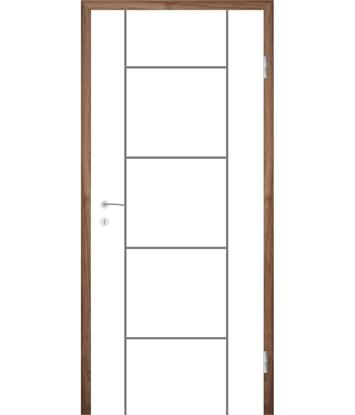 Bíle lakované interiérové dveře s drážkami COLORline - MODENA R5L