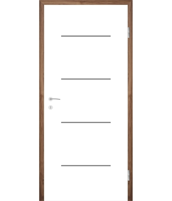 Picture of Bíle lakované interiérové dveře s drážkami COLORline - MODENA R7L