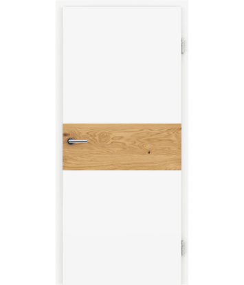 Picture of Bíle lakované interiérové dveře s dýhovanými intarziemi BELLAline - I39R72L bíle lakováno, intarzie dub sukatý s drážkou
