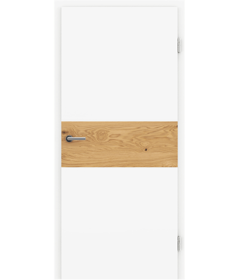 Bíle lakované interiérové dveře s dýhovanými intarziemi BELLAline - I39R72L bíle lakováno, intarzie dub sukatý s drážkou