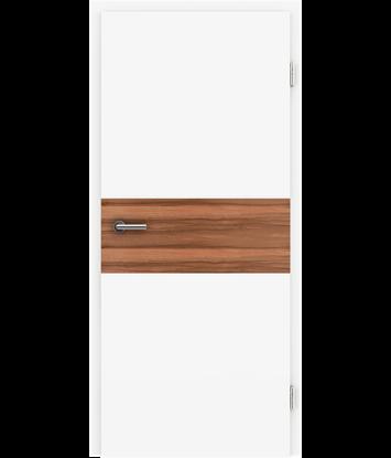 Picture of Bíle lakované interiérové dveře s dýhovanými intarziemi BELLAline - I39R72L bíle lakováno, intarzie intarzie indické jablko s drážkou