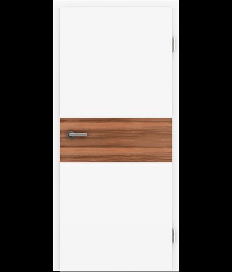 Bíle lakované interiérové dveře s dýhovanými intarziemi BELLAline - I39R72L bíle lakováno, intarzie intarzie indické jablko s drážkou