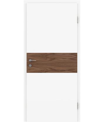 Bíle lakované interiérové dveře s dýhovanými intarziemi BELLAline - I39R72L bíle lakováno, intarzie ořech s drážkou