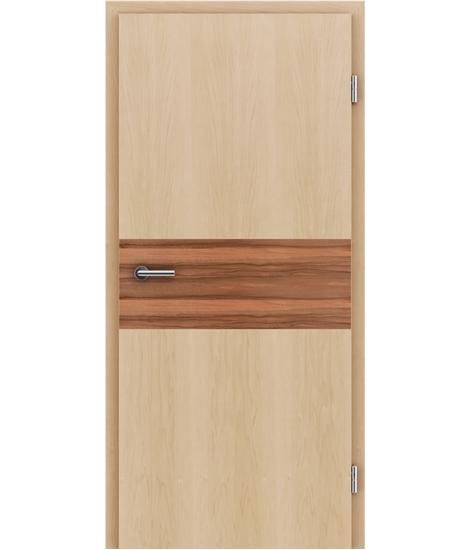 Dýhované interiérové dveře s intarziemi HIGHline - I39 javor, intarzie indické jablko