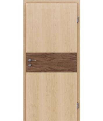 Dýhované interiérové dveře s intarziemi HIGHline - I39 javor, intarzie ořech